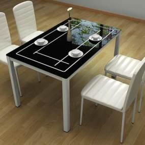 现代简略餐坐餐椅 3D模型【ID:841483844】