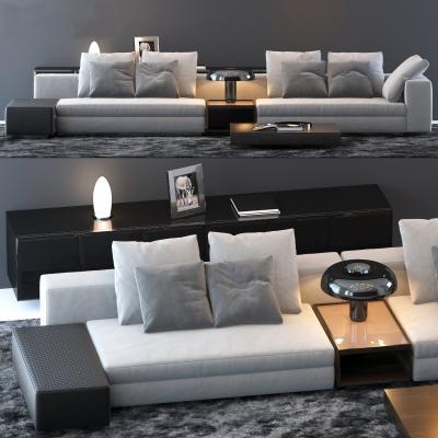 米洛提现代多人沙发茶几边柜3D模型【ID:630849651】