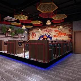 工业风餐桌3D模型【ID:648148573】