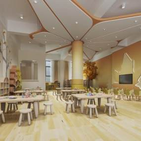 现代幼儿园教室3D模型【ID:949054614】