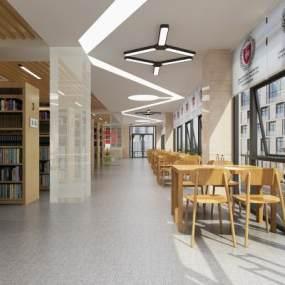 现代图书馆3D模型【ID:948350896】