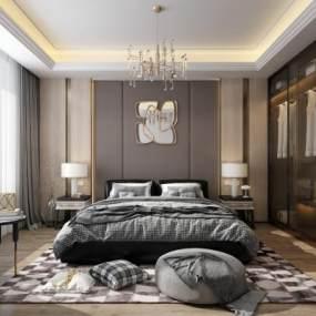 现代卧室3D模型【ID:532021242】