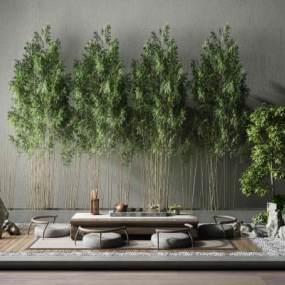 新中式风格茶室3D模型【ID:645371152】