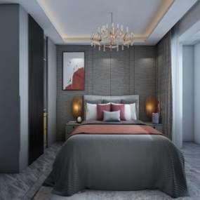 现代轻奢卧室3D模型【ID:545682262】
