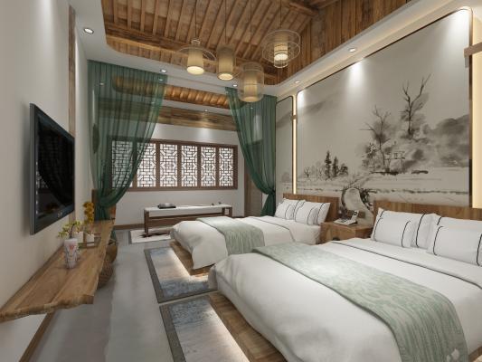 新中式酒店客房 酒店标准间 客房