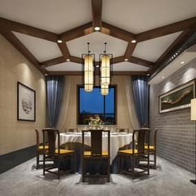 新中式餐厅3D模型【ID:632746263】