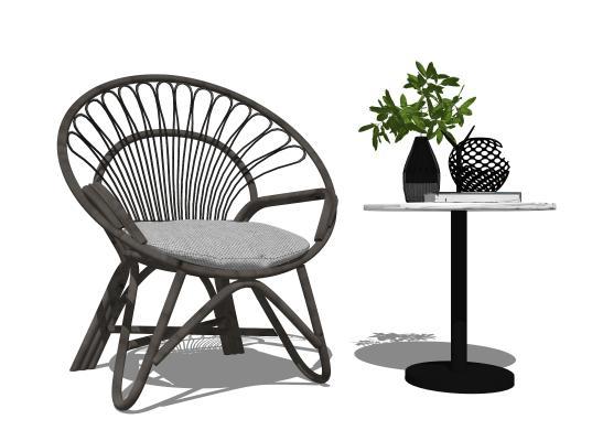 现代户外单人沙发休闲椅角几组合SU模型【ID:153383306】