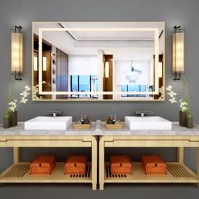 新中式卫浴柜3D模型【ID:530695588】
