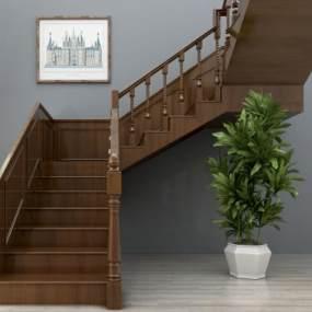 欧式实木楼梯3D模型【ID:333036565】