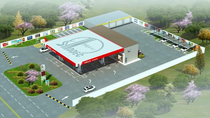 现代加油站3D模型【ID:132695263】