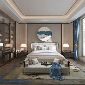 新中式卧室3D模型【ID:534753222】