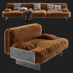 现代三人沙发单人沙发组合3D模型【ID:635299639】