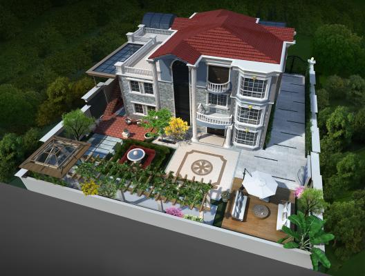 歐式簡約別墅3D模型【ID:143305326】