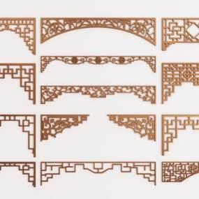 新中式镂花门洞隔断组合3D模型【ID:331607777】
