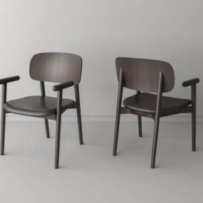 北欧实木单椅3D模型【ID:745933180】