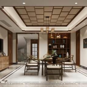 新中式茶室3D模型【ID:635091137】