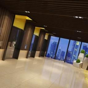 现代风格电梯厅3D模型【ID:742917620】