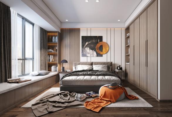 现代卧室3D模型【ID:552303274】