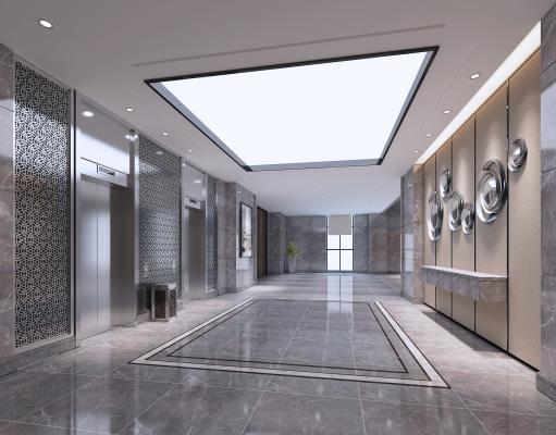 现代简约电梯间走廊3D模型【ID:745869674】