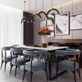 现代简约餐厅桌椅组合3D模型【ID:540947184】