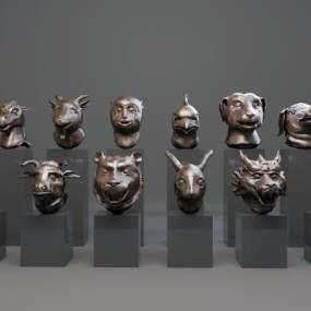 新中式雕塑3D模型【ID:334728160】