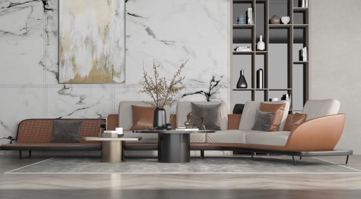 现代折角沙发茶几组合