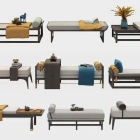 新中式脚踏凳子组合3D模型【ID:732948647】