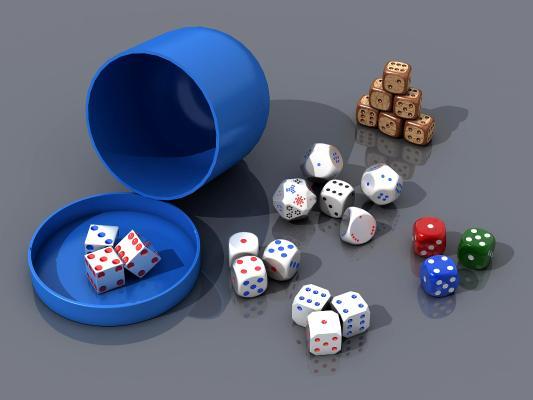 现代骰子赌具3D模型【ID:840774708】