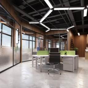 现代简约办公室3D模型【ID:942494053】