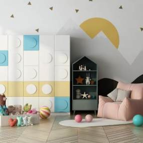 现代风格儿童衣柜3D模型【ID:545366298】