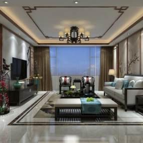 新中式客厅3D模型【ID:535846017】