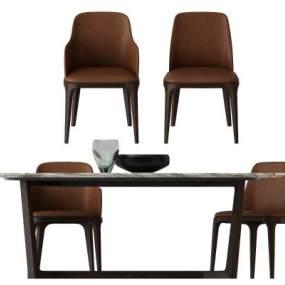 现代桌椅组合3D模型【ID:835598944】