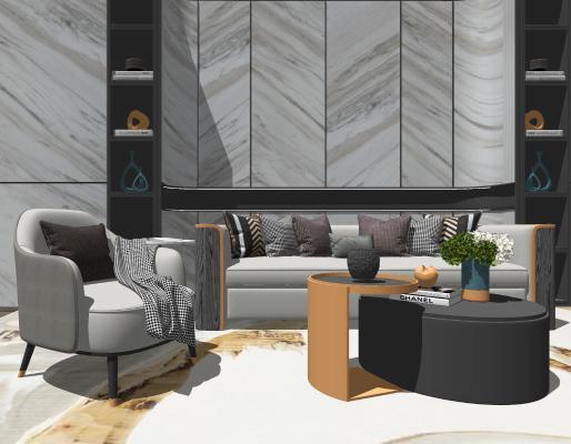 现代轻奢沙发SU模型【ID:447996117】