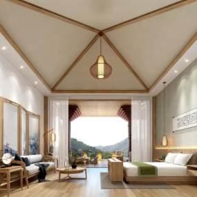 新中式禅意酒店卧室3D模型【ID:745535324】
