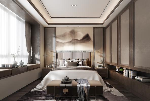 新中式卧室3D模型【ID:542354203】