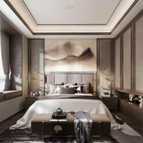 新中式卧室 3D模型【ID:542354203】