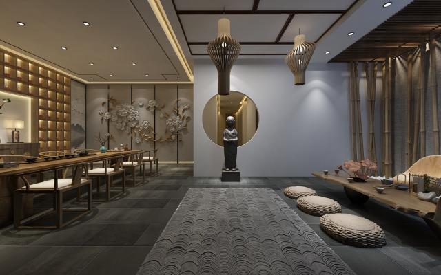 新中式茶館茶室3D模型【ID:643048627】