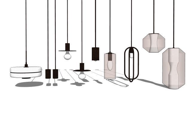 現代吊燈組合SU模型【ID:348631897】