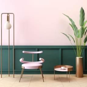 现代网红金属铁艺休闲单椅植物盆栽落地灯组合3D模型【ID:843877231】