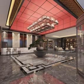 新中式酒店大堂3D模型【ID:746425040】
