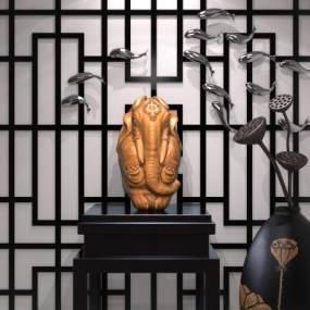 新中式雕塑3D模型【ID:331303104】