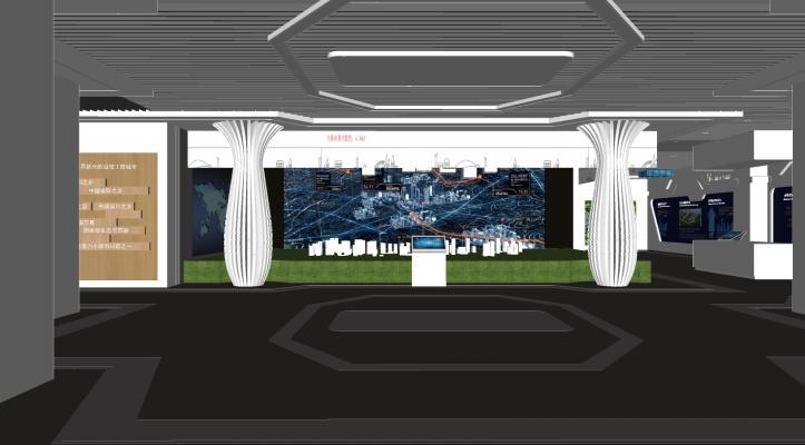 现代企业创意科技展厅展览SU模型【ID:245493944】