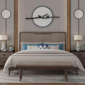 新中式卧室3D模型【ID:842571704】