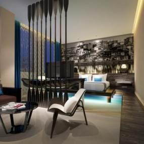 現代藝術個性酒店客房3D模型【ID:749140346】