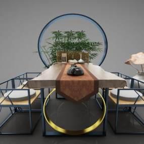 新中式風格餐桌3D模型【ID:844151850】