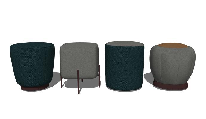 现代矮凳沙发凳组合SU模型【ID:847988593】