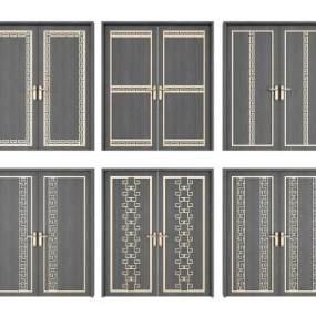 新中式双开门组合3D模型【ID:336039105】