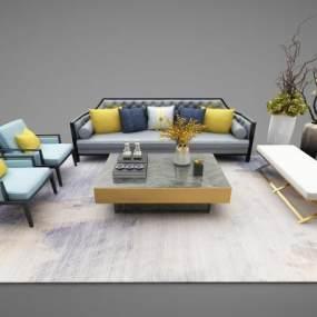新中式风格沙发组合3D模型【ID:643714793】
