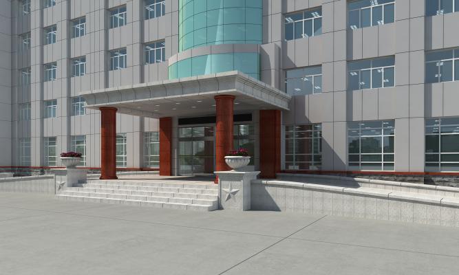 办公楼入口3D模型【ID:142574977】