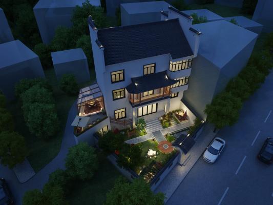 中式小庭院露台设计3D模型【ID:130903470】